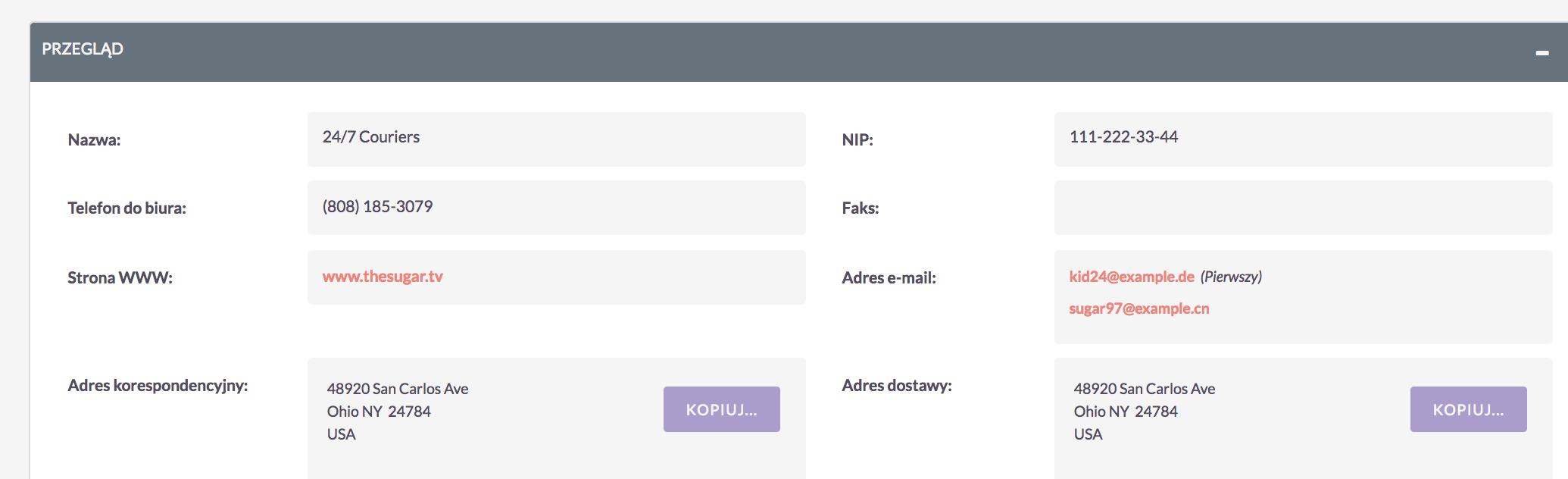 Widok szczegółów - formatowanie NIP